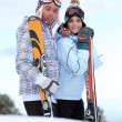 Couple stood with their skis — Stock Photo #10908829