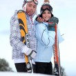 Couple stood with their skis — Stock Photo