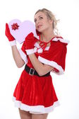 Woman dressed as Mrs Claus — Stock Photo