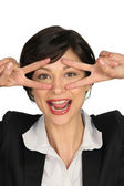 Brunette pulling sill face — Fotografia Stock