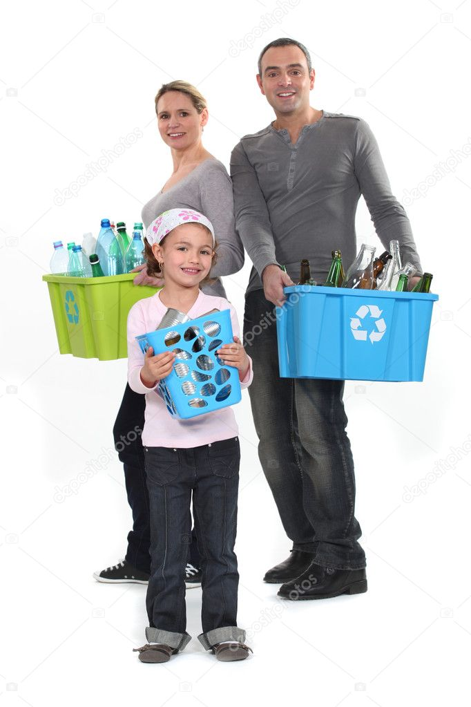 Family sorting garbage, studio shot — Stock Photo #10903750