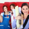 Stock Photo: Three women home decorating