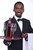 Black sommelier — Stock Photo