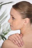 Profile of blond woman — Stock Photo