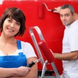 Stock Photo: Couple redecorating their house