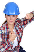 Tradeswoman ready to fight — Stock Photo