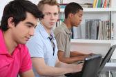 İşte çalışmak üç üniversite öğrencisi — Stok fotoğraf