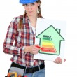 Stock Photo: Young female heating engineer