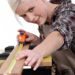 A female carpenter measuring. - Foto de Stock