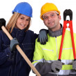 Stock Photo: Male and female manual workers