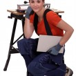 Stock Photo: Female tile cutter