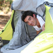Foto Stock: Boy in camping