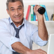 Stock Photo: Senior businessman staying in shape