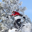 Stock Photo: Mperforming jump on snowboard
