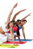 Three woman in gym class — Stock Photo