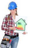 Young female heating engineer — Stock Photo