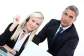 Telemarketer and sales manager — Stock Photo