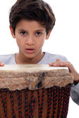 Boy with a djembe drum — Stock Photo
