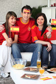 Group of friends supporting the Spanish football team — Stock Photo