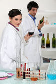 Working in a wine laboratory — Stock Photo