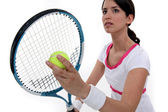 Tennis player about to serve — Stock Photo