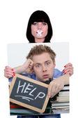 Foto di donna con nastro sulla bocca — Foto Stock