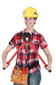 Woman with tools and boltcutters — Stock Photo