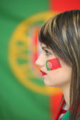 Woman supporter of Portugal — Stock Photo