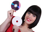 Woman holding digital storage discs — Stock Photo