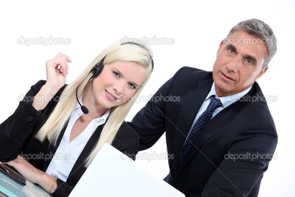 Telemarketer and sales manager — Stock Photo #10971514