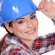 Stock Photo: Closeup of womin hardhat