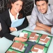 Agent and client looking at a housing model — Stock Photo #11017122