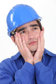 Stressed builder — Stock Photo