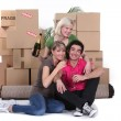Boys celebrating moving — Stock Photo