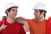 Cheerful plumbers — Stock Photo