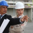Architects working on-site — Stock Photo