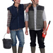 Pair of construction workers — Stock Photo