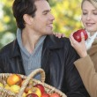 Stock Photo: Couple gathering apples