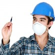 Stock Photo: Builder wearing face mask