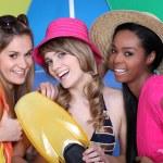 Trio of girls at beach — Stock Photo
