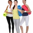 Woman holding gym mats — Stock Photo