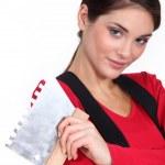 Woman plasterer — Stock Photo