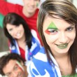 Group of friends supporting the Italian football team — Stock Photo #11039411