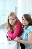 Two teenage girls with laptop computer — Stock Photo
