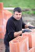 A hard-working bricklayer — Stock Photo