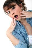 Woman discovering a secret — Stock Photo