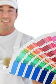 Decorador hombre sosteniendo muestra de pintura — Foto de Stock