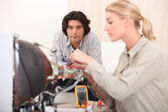 Female computer repair — Stock Photo