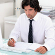 Manager in his office with laptop — Stock Photo #11044258