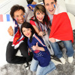 Ecstatic French soccer supporters — Stock Photo